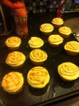 Cupcakes! In the process of adding caramel.