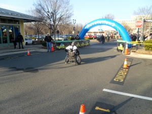 Wheel chair racer at the start