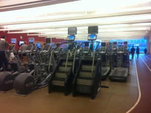 Tons of cardio machines for a hotel gym!