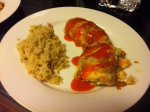 Stuffed Buffalo Chicken Breasts w/ a side of rice