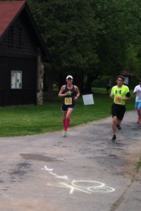 Passing the 3 mile mark at the Green Lakes 8k!