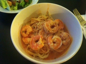 Shrimp with angel hair pasta and tomato sauce