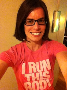 Rocking my I Run This Body Tee!