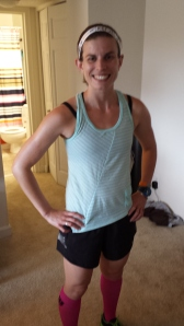 Rocking my Oiselle stipe tank and distance shorts with CEP compression socks.