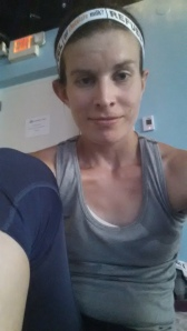 Nervously awaiting the start of class in my new Oiselle flyte tank and lesley knickers!
