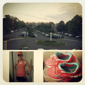Gearing up for Saturday's run...the bum wrap Oiselle skirt made it's first appearance of the season!