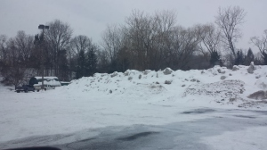 The crazy big snowbanks in the Y parking lot in Fayetteville near my parent's house.